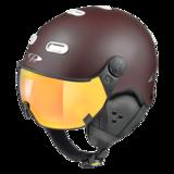 Snowboard helm met Vizier CP Carachillo_brown-white_flash-Gold-mirror