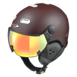 Snowboard helm met Vizier CP Carachillo brown-white Dl Vario Lens Multicolour Mirror