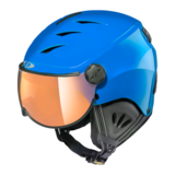 Skihelm met Vizier Camulino - Blue shiny / Black  - Orange Silver Mirror