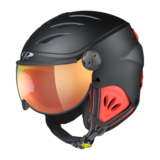 Skihelm met Vizier Camulino - Black s.t./Red - Flash Gold Mirror