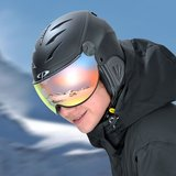 Kids Ski Helmet with Visor Child Black - Cp Camulino - Mirror Visor ( ☁/❄/☀ )_