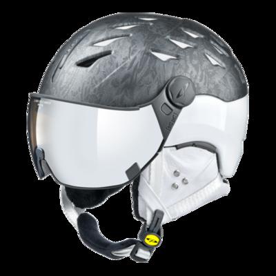 Ski Helmet with Visor Women Black White - Cp Cuma Cubic - Photochromic/Mirror ❄/☁/☀ -