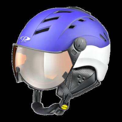 Helmet With Visor Blue White - Cp Camurai - Mirror  (☁/❄/☀)