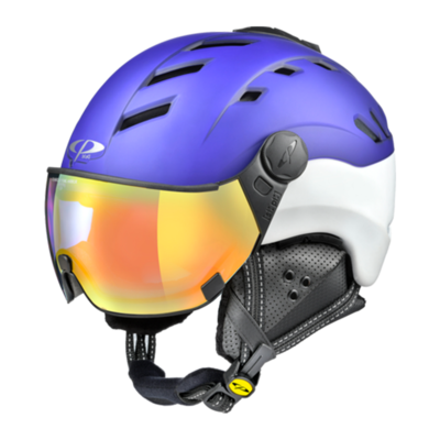 Helmet With Visor Blue-White - Cp Camurai - Photochromic Mirror (☁/❄/☀)