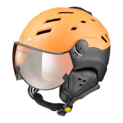 Helmet With Visor Orange Black - Cp Camurai - Mirror  (☁/❄/☀)