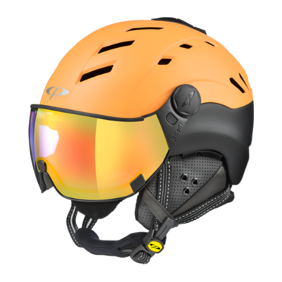 Helmet With Visor Orange Black - Cp Camurai - Photochromic Mirror (☁/❄/☀)
