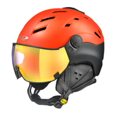 Helmet With Visor Red-Black - Cp Camurai - Photochromic Mirror (☁/❄/☀)