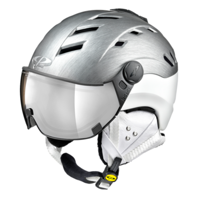 Helmet With Visor Grey White - CP Camurai Metallic Cubic - Photochromic Mirror  (❄/☁/☀)