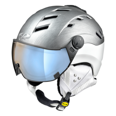 Helmet With Visor Grey-White - CP Camurai Metallic Cubic - Photochromic Polarized Mirror    (❄/☁/☀)