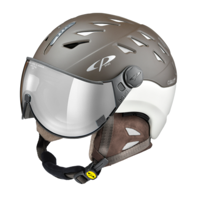 Cp Ski Helmet with Visor Brown-White - Cp Cuma Cashmere - Photochromic/Mirror ❄/☁/☀