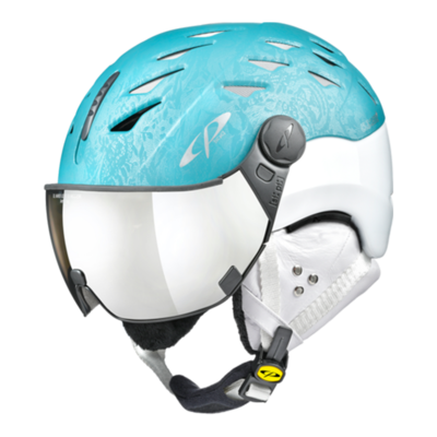 Ski Helmet with Visor Woman Blue White - Cp Cuma Cubic - Photochromic/Mirror ❄/☁/☀ -