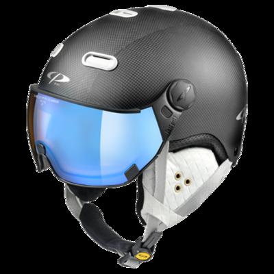 Helmet With Visor Black White - CP Carachillo Carbon - Photochromic Polarized Mirror Visor ☁/❄/☀