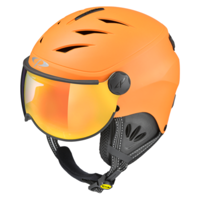 Kids Ski Helmet with Visor Child Orange - Cp Camulino - Mirror - ☁/❄/☀
