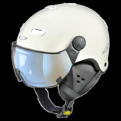 Helmet With Visor White - CP Carachillo - Photochromic Polarized Mirror - ❄/☁/☀