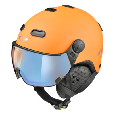 Helmet With Visor Orange Black - CP Carachillo - Photochromic Polarized Mirror - ❄/☁/☀