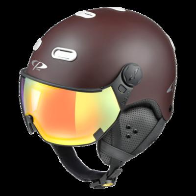 Helmet With Visor Brown White - CP Carachillo - Photochromic Mirror - ❄/☁/☀