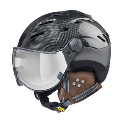 Ski Helmet Shiny Black - CP Camurai Carbon - Photochromic Mirror Visor (☁/❄/☀)