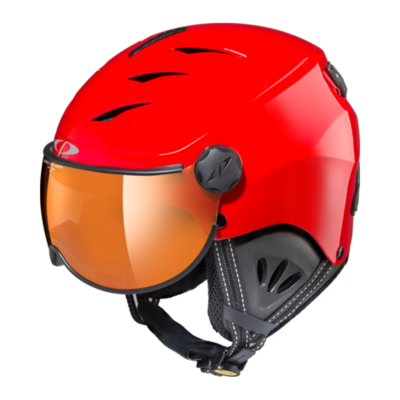 Kids Ski Helmet with Visor Red Black  - Cp Camulino - Mirror - ☁/❄/☀