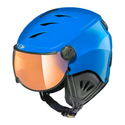 Kids Ski Helmet with Visor Blue Black  - Cp Camulino - Mirror - ☁/❄/☀