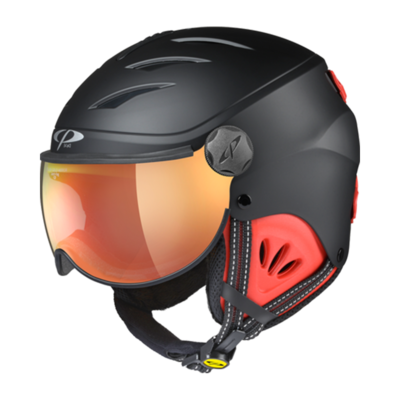 Kids Ski Helmet with Visor Child Black Red - Cp Camulino - Mirror - ☁/❄/☀