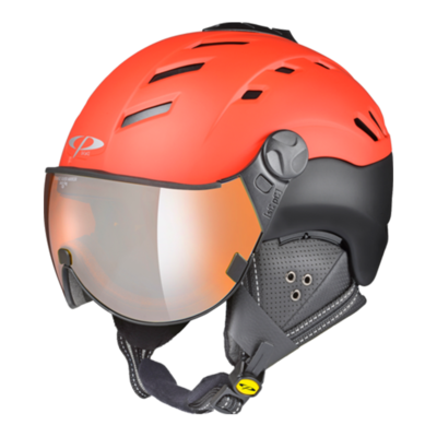 Helmet With Visor Red Black - Cp Camurai - Mirror (☁/❄/☀)