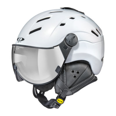 Helmet With Visor White - Cp Camurai - Photochromic Mirror (☁/❄/☀)