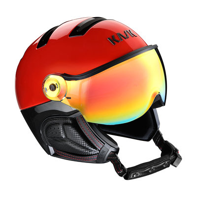 Kask Montecarlo Red - Ski Helmet with Visor - Mirror Visor (☀/☁) Cat.2
