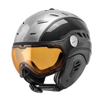 Slokker Bakka Ski helmet Silver Black - Photochromic & Polarized Visor (☁/☀/❄)
