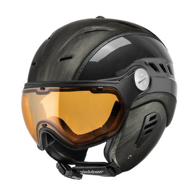 Slokker Bakka Ski helmet Black Wood - Photochromic & Polarized Visor (☁/☀/❄)