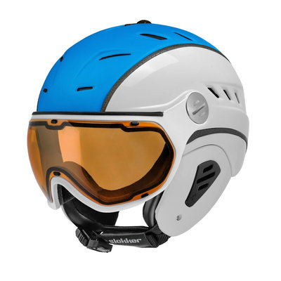 Slokker Bakka Ski helmet white blue - Photochromic & Polarized Visor (☁/☀/❄)