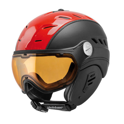 Slokker Bakka Ski helmet Black Red - Photochromic & Polarized Visor (☁/☀/❄)