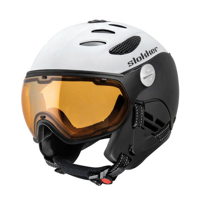SLOKKER BALO SKI HELMET - White Black - ORANGE PHOTOCHROMIC POLARIZED VISOR CAT.1-2