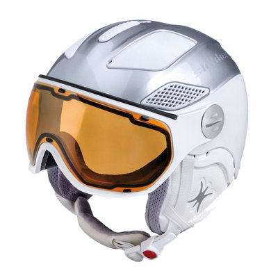 Skihelm Slokker Raider Free lady - silver white - Photochromic Polarized Visor (☁/☀/❄)