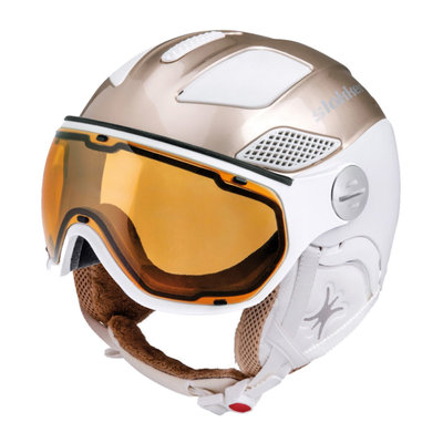 Skihelm Slokker Raider Free lady - gold white - Photochromic Polarized Visor (☁/☀/❄)