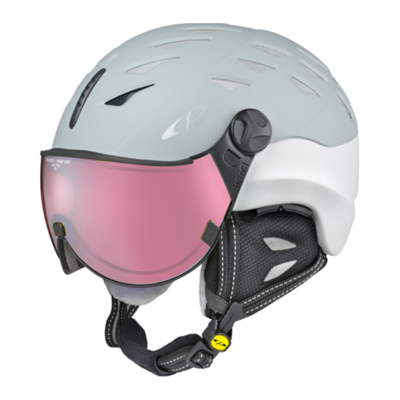 CP CUMA SKIHELM - GREY WHITE - DL POLARIZED VARIO VIZIER Cat.2