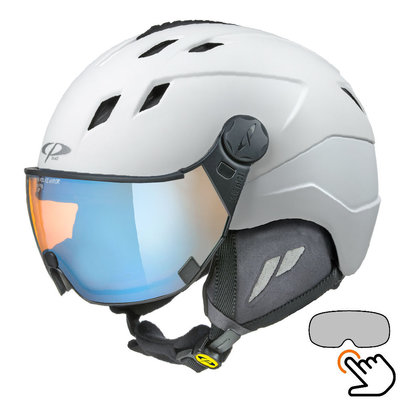 CP Corao+ ski helmet white - photochrome & polarised visor (3 Choices) - very safe