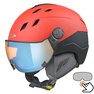 CP Corao+ ski helmet red - photochrome & polarised visor (3 Choices) - very safe