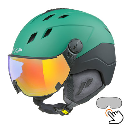CP Corao+ ski helmet green - single mirror visor (2 Choices) - very safe