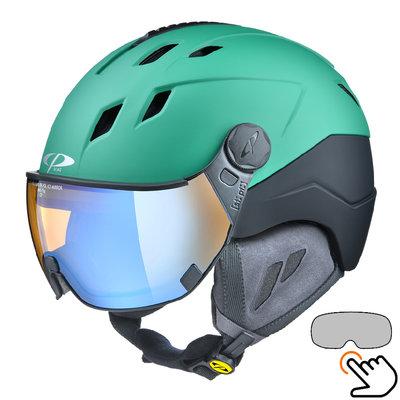 CP Corao+ ski helmet green - photochrome & polarised visor (3 Choices) - very safe