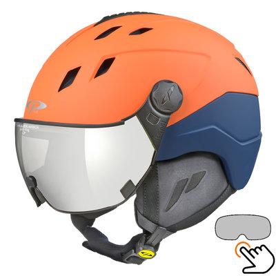 CP Corao+ ski helmet orange - single mirror visor (2 Choices) - very safe