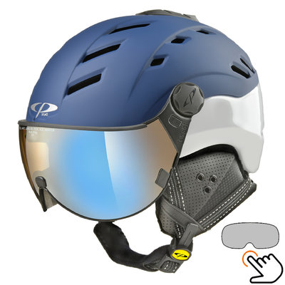 CP Camurai ski helmet blue-white - photochrome & polarised visor - choose from 6 types!