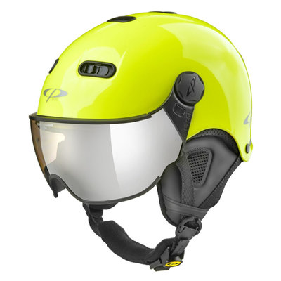 CP Carachillo XS ski helmet fluo yellow shiny - helmet with mirror visor (☁/❄/☀)