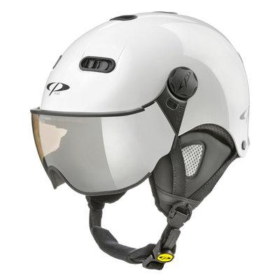 CP Carachillo XS ski helmet white shiny - ski helmet with mirror visor (☁/❄/☀)