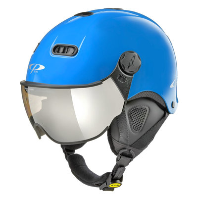 CP Carachillo XS ski helmet blue shiny - ski helmet with mirror visor (☁/❄/☀)