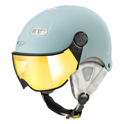 CP Carachillo XS ski helmet light blue matt - helmet with mirror visor (☁/☀)