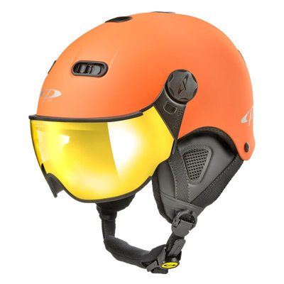 CP Carachillo XS ski helmet orange matt - helmet with mirror visor (☁/☀)