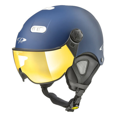 CP Carachillo XS ski helmet blue matt - helmet with mirror visor (☁/☀)