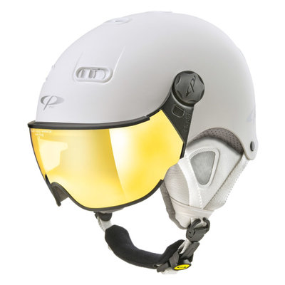CP Carachillo XS ski helmet white matt - helmet with mirror visor (☁/☀)