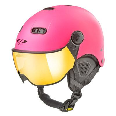 CP Carachillo XS ski helmet fluo pink matt - helmet with mirror visor (☁/☀)