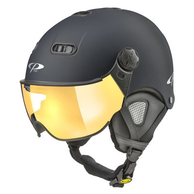 CP Carachillo XS ski helmet black matt - helmet with mirror visor (☁/☀)